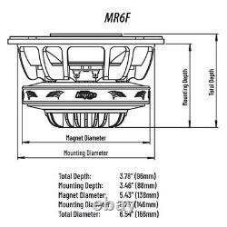 2 Audio Legion 6.5 Marine Pro Driver Coaxial Speakers 400 Watts Max MR6F Pair