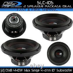 2 DS18 SLC-10S 10 Car Audio Truck Subwoofer 880W SVC 4 Ohm Bass Sub Speaker