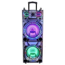 BeFree Sound Bluetooth 12 Double Subwoofer Portable PA DJ Speaker MIC Karaoke