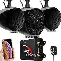 Bluetooth Waterproof ATV UTV RZR Polaris Stereo 3 Speakers Audio System FM Radio