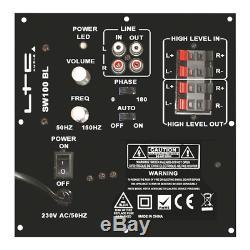 LTC SW100 Black Subwoofer Active Bass Speaker HiFi Sound System 100W