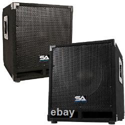 Pair of Powered 12 Pro Audio Subwoofer Cabinets PA / Band / DJ / KJ Subs