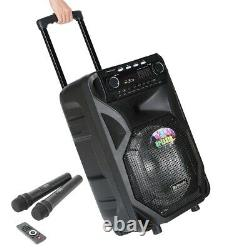 Portable PA Karaoke Bluetooth Speaker w 12 Subwoofer Sound Mic DJ Lights FM