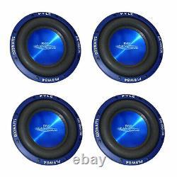 Pyle PLBW84 8 Inch 600 Watt DVC Car Audio Subwoofer Speakers, Blue (4 Pack)