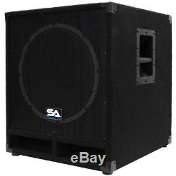 Seismic Audio Powered 15 Subwoofer Cabinet PA DJ PRO Band Speaker Active Sub