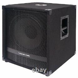 Sound Town 15 3200W Powered Subwoofers with Speaker Outputs METIS-15SPW2.1-PAIR