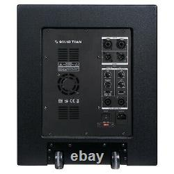 Sound Town 15 Powered Subwoofer, 2 Outputs Plywood Enclosure Wheels CARPO-15SPW