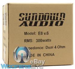 Sundown Audio E-8 V. 6 D4 8 Sub 300w Rms Dual 4-ohm Subwoofer Bass Speaker New