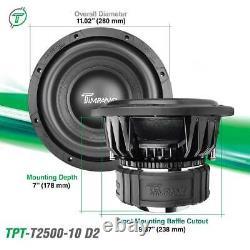 Timpano 10 Car Audio Subwoofer 2500W T2500-10 Dual 2 Ohms High Performance