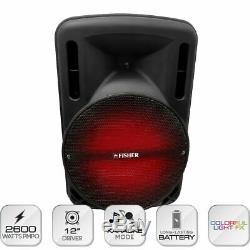12 2600w Portable Bluetooth Haut Parleur Woofer Lourd Basse Party Sound System