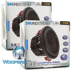 (2) Soundstream T5.104 Subs Pro 10 3600w Max Dual 4 Ohms Haut-parleurs Subwoofers Nouveau
