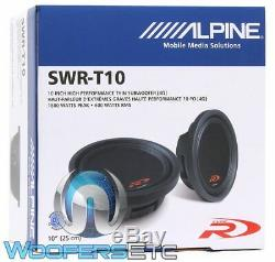 Alpine Swr-t10 10 1800w Sous 4 Ohms Shallow Mont Mince Caisson De Basses-parleurs Bass Nouveau