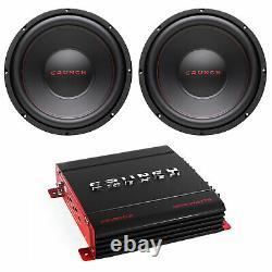 Crunch 12 800 W 4 Ohm Voiture Subwoofer Haut-parleur (2 Pack) Avec Amplificateur Audio Stéréo