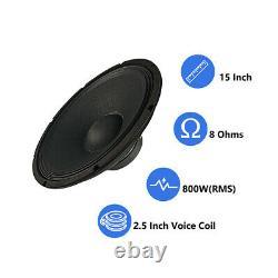 Dual 15 Haut-parleur Sub-woofers De Remplacement 2500w Power Audio 51oz Raw Woofers Basse