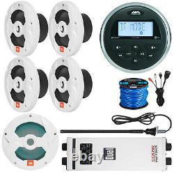 Marine Audio Stereo, Haut-parleurs 4x 8, 10 Led Subwoofer, Bundle Amp Amp 5 Canaux