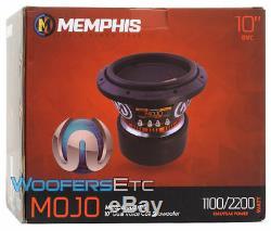Memphis Mojo 610d4 10 Sous 2200w Double Subwoofer Audio Voiture 4 Ohms Haut-parleur Nouveau