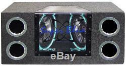 Pyramid Subwoofer Audio Double Système D'éclairage Au Néon Passe-bande Enceintes Voiture Rms
