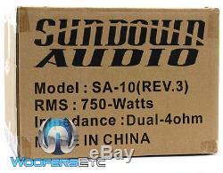Sundown Audio Sa-10d4 Rev3 10 DVC 4 Ohms 750w Rms Caisson De Graves Enceintes Bass Nouveau